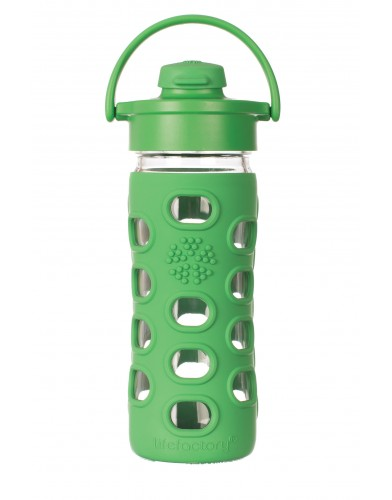 12oz Glass Bottle with Flip Cap and Silicone Sleeve Grass Green
