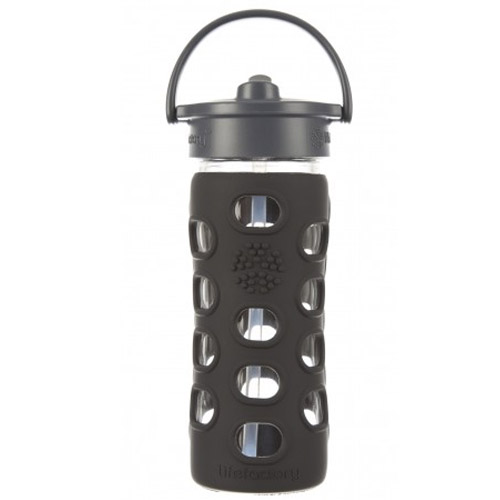 12 oz Glass Bottle with Straw Cap and Silicone Sleeve carbon