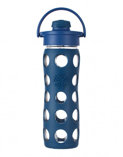 Lifefactory Glass Bottle with Flip Cap midnight blue